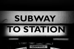 Subway to Station sign in Melbourne royalty free stock image