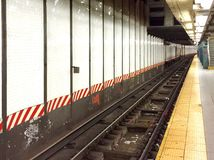 Subway track. A subway track and platform. No people, empty station Royalty Free Stock Images