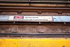 Subway Tracks Danger Sign Close Up Stock Photo