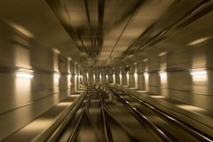 Subway tracks and motion. Subway tracks with motion blurs taken while driving the train Royalty Free Stock Photography