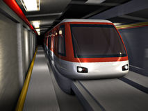 Subway train. Train in an underground tunnel in motion. Made in 3D Stock Images
