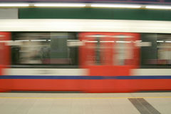 Subway train. A blurred view of a subway train as it speeds through a station in Warsaw, Poland Royalty Free Stock Photos