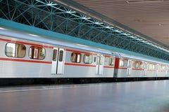 Subway train. A subway train at a train station Royalty Free Stock Image