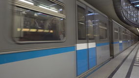 Subway train approaching in Moscow station. In slow motion stock footage