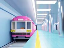 Subway train arrive on station Royalty Free Stock Photos