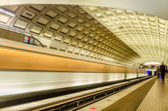 Subway Train Arriving into a Station Royalty Free Stock Images
