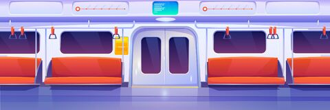 Free Subway Train Car, Metro Wagon Interior Stock Photo - 169852290
