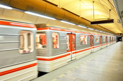 Subway train in city of Prague Royalty Free Stock Photography