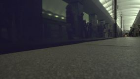 Subway Train Emerges From Tunnel stock footage