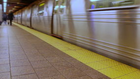 Subway Train. Almost empty subway platform.The train is coming stock video