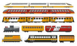 Subway train icon set, cartoon style royalty free illustration