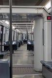 Subway train. Interior of subway train car in Metro Barcelona. Spain Royalty Free Stock Image
