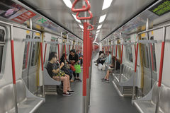 The Subway train interior in  Hong Kong Royalty Free Stock Photography