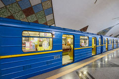 Subway train in Kiev, Ukraine. Station Stock Photos