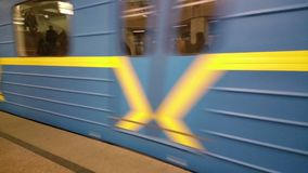 Subway train leaving metro station, gaining speed, moving fast. Stock footage stock video