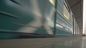 Subway train leaving metro station in Moscow stock video footage