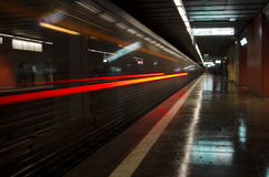 Subway train leaving station. Underground train in bucharest leaving station with motion blur Stock Photos