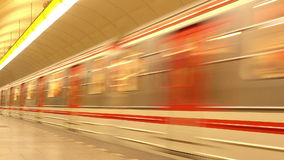 Subway Train in Metro Station. Subway Train with Passengers Arriving to Underground Metro Station, Motion Blur stock video