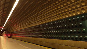 Subway Train in Metro Station. Subway Train with Passengers Arriving to Underground Metro Station, Motion Blur stock footage