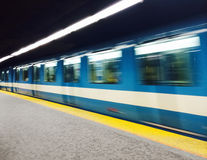 Subway train in Montreal Stock Photo