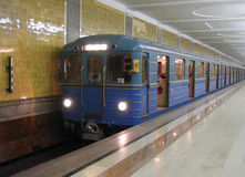 Subway train in Moscow stock photos