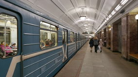 Subway train of Moscow metro. MOSCOW, RUSSIA. 17 JAN 2015. Belorusskaya subway station. Editorial video. Shooting in 4K and downscaling to Full HD stock video footage
