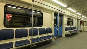 In subway train, Moscow metro Underground, Russia.  stock video footage