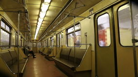 In subway train, Moscow metro (Underground), Russia stock video footage