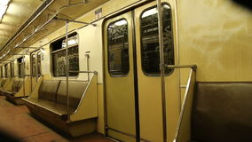 In subway train, Moscow metro (Underground), Russia.  stock footage