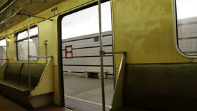 In subway train, Moscow metro (Underground), Russia stock footage