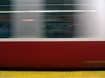 Subway train in motion. Shows moving subway train in boston's park street station Stock Photo