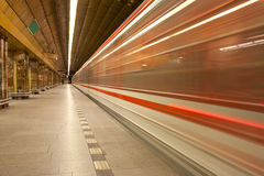 Subway train in motion Royalty Free Stock Images