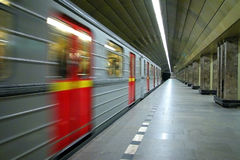 Subway train in motion. From station Stock Image