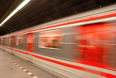 Subway train,motion blur. Train arriving in the subway station in Prague, motion blur Royalty Free Stock Images