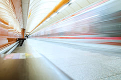 Subway train in motion blur. Underground in Prague Royalty Free Stock Photo