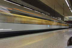 Subway train in movement at station. Valencia, Spain Stock Photography