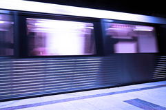 Subway train moving with speed. Subway wagon moving with speed near the platform Royalty Free Stock Images