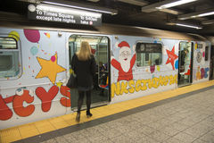 Subway train painted with Christmas theme Stock Image