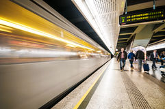 Subway train and passengers at Volkstheater station, Vienna, Austria. Stock Photos