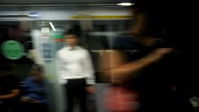 Subway train. Ride into the station stock video