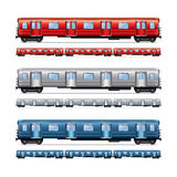 Subway train set isolated on white vector Stock Photo