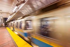 Subway train speeding up, Boston Royalty Free Stock Images