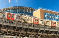 Subway train speeding up outdoor in Hamburg, Germany.  Royalty Free Stock Images