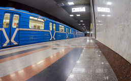 Subway train stand on the end station Royalty Free Stock Images