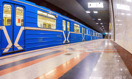 Subway train stand on the end station Stock Images