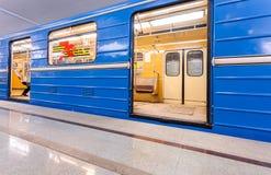 Subway train stand on the station Alabinskaya in Samara, Russia Royalty Free Stock Photos