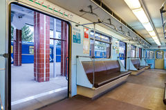 Subway train stand on the station Royalty Free Stock Photography