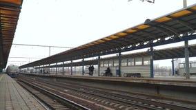 Subway train station. Subway train arrives at station stock footage