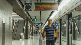 Subway train station interior timelapse in Central, Hong Kong. MTR is the most popular transport in Hong Kong. Subway train station interior timelapse in Central stock video