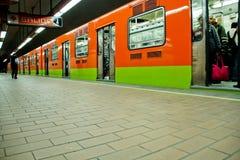 Subway train station at Mexico city. MEXICO CITY,MEXICO-SEPTEMBER 23,2016: Subway train and walk at station on a common on Mexico city,Mexico Stock Images